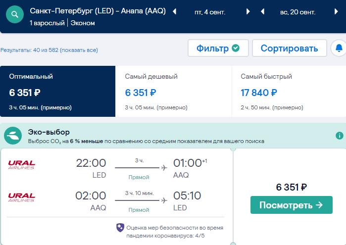 Кусочек сейла для Петербурга: летим Уральскими в Сочи и Анапу от 6000₽ туда-обратно