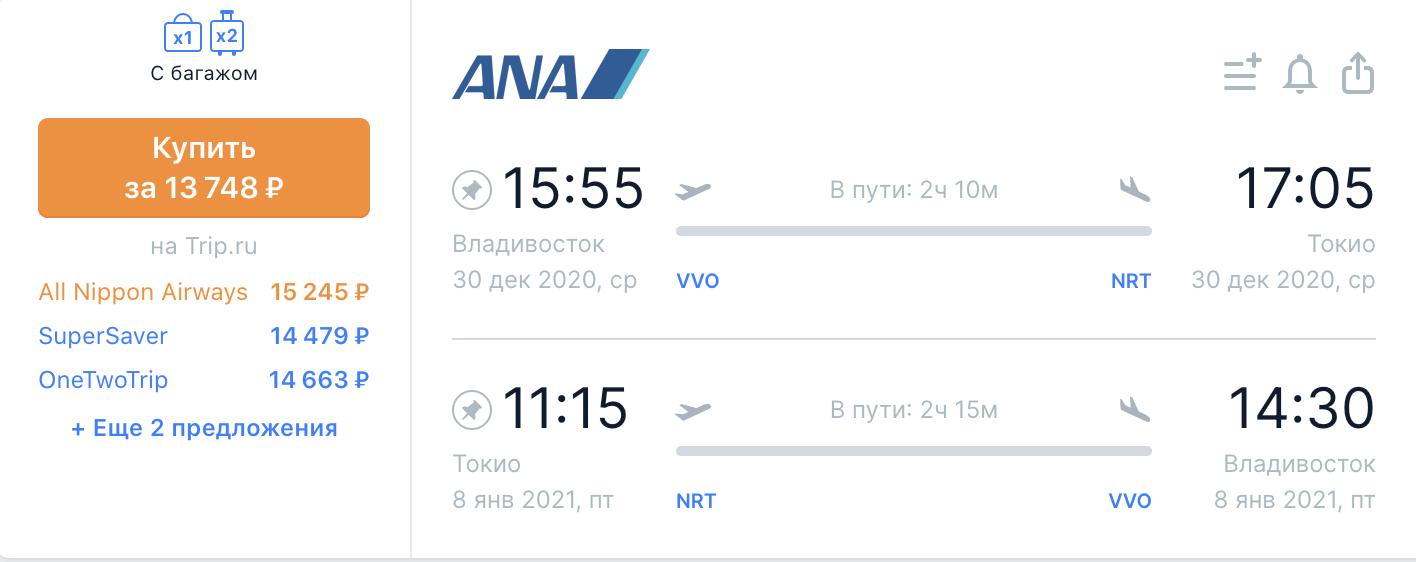 All Nippon Airways возобновляет полеты из Владивостока в Японию от 13700₽ туда-обратно, есть на НГ