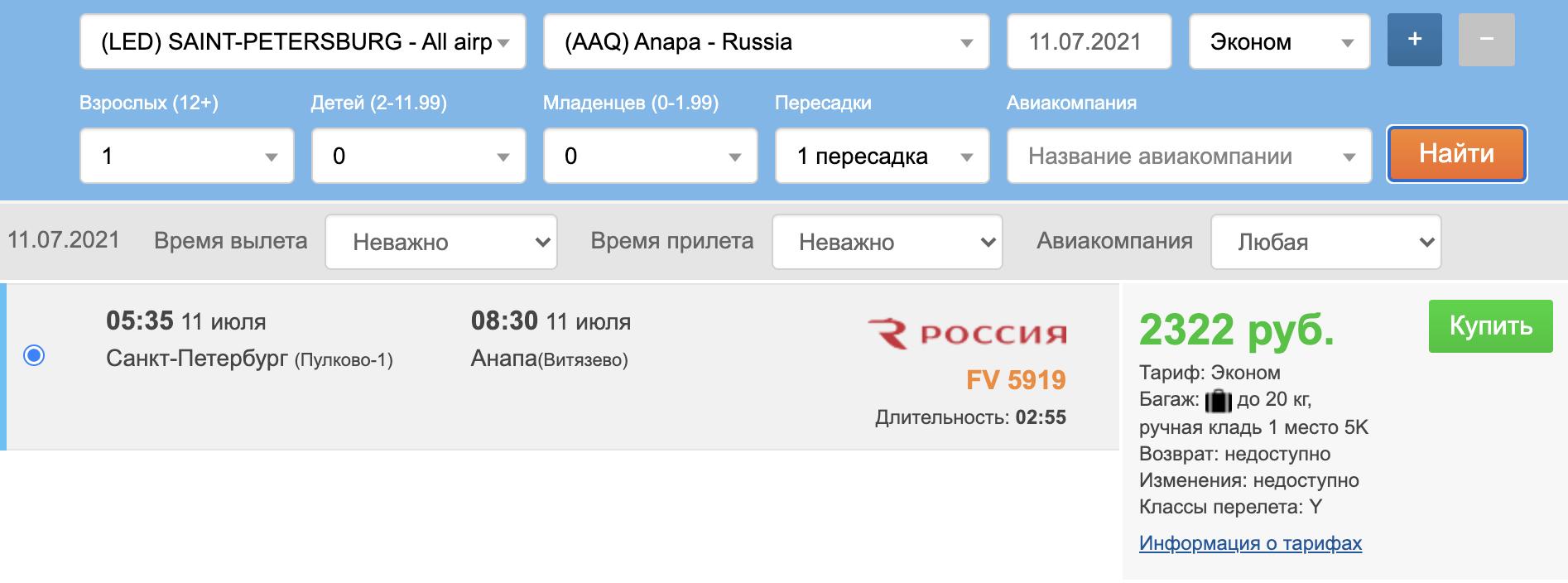 Послезавтра! Дешевые чартеры из СПб в Анапу за 4200₽ туда-обратно