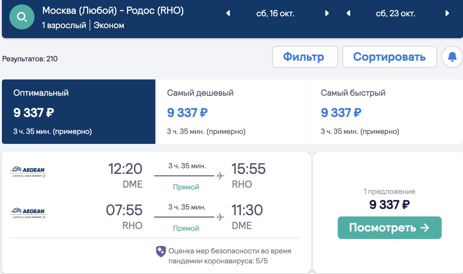 К морю и оливкам: прямые чартеры на Родос из Москвы за 9300₽ туда-обратно (завтра)
